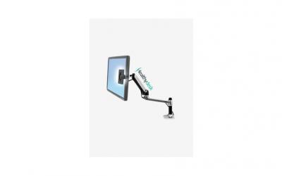 Съвременното оборудване за офис включва и практични стойки за монитори.